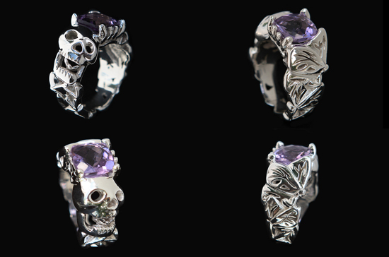 Custom Skull and Butterfly ring
