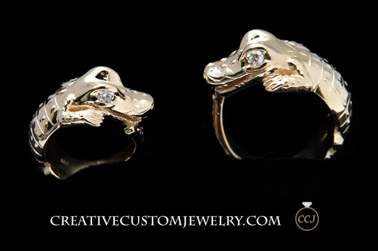 Gold Alligator Ring Diamond eye