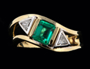 Custom Handmade Emerald Diamond Trillion Wedding Ring
