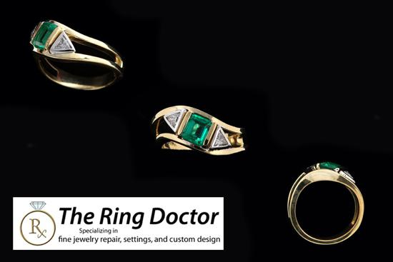 Custom Two Tone Emerald Diamond Ring