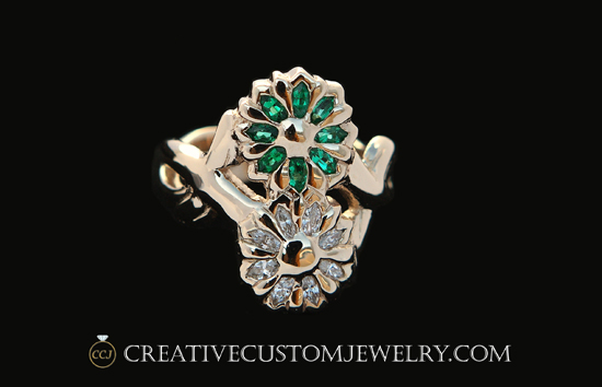 Custom Gold Flower Ring Diamond Emerald