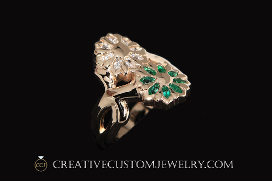 Gold Flower Ring diamonds emerald