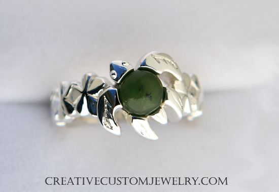Silver Jade Turtle Ring