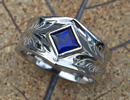 Mens BLue sapphire ring