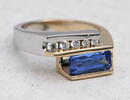 Two Tone tanzanite Ring Handmade custome one of a king