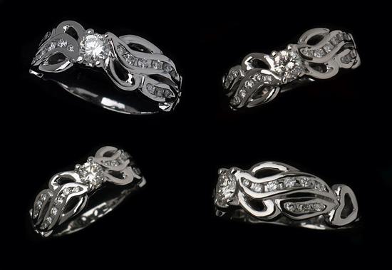 Diamond Wedding Ring Hand Carved
